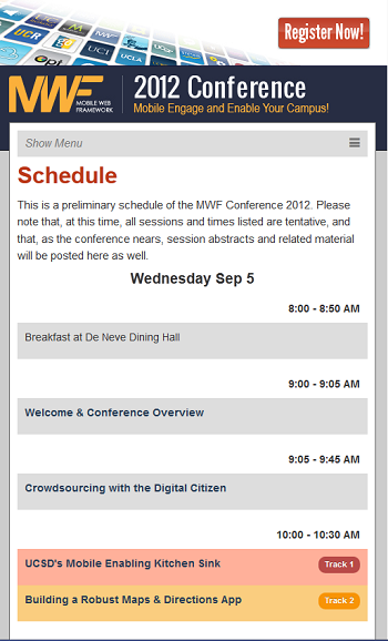 MWF Conference Schedule