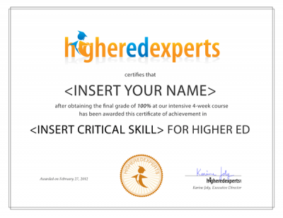 Higher Ed Experts SOOC Certificate