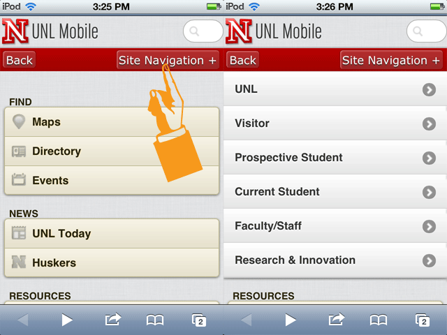 UNL Mobile Homepage