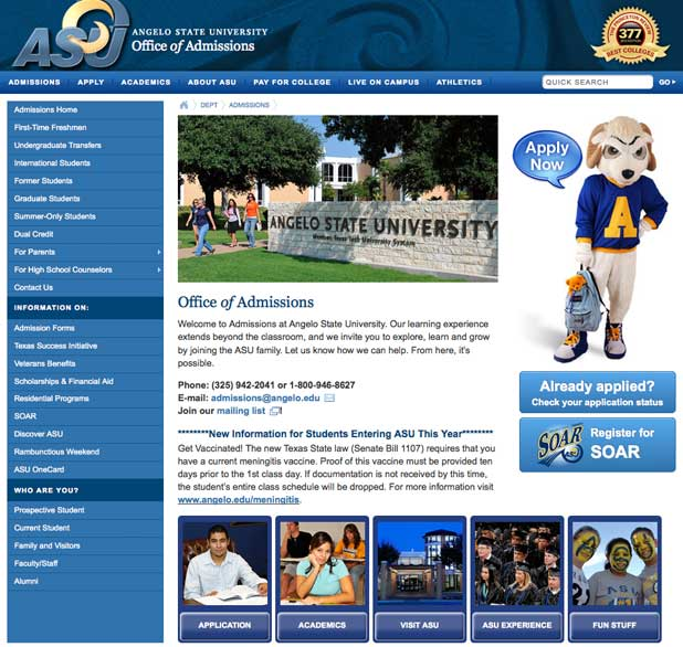Angelo State Old Admissions Website