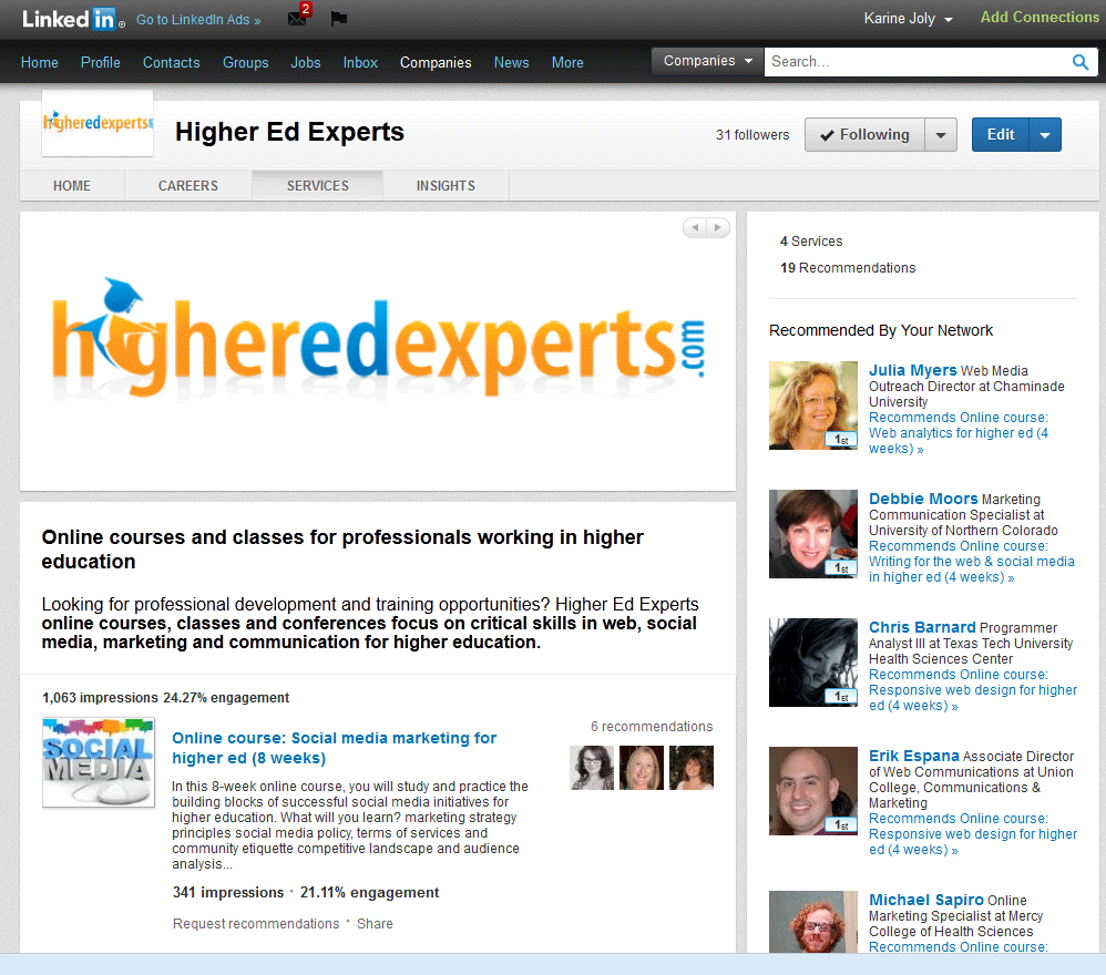 LinkedIn ecommendations for Higher Ed Experts Courses