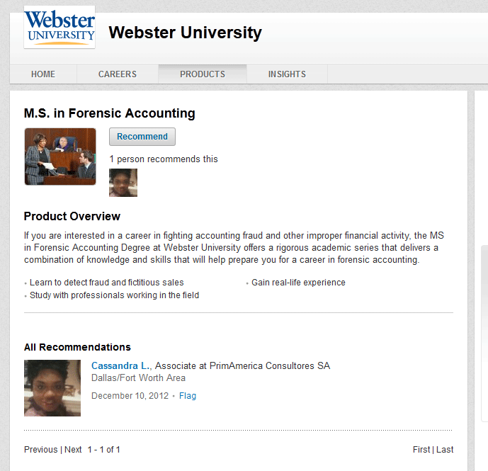 Webster University using Linkedin for his MS program