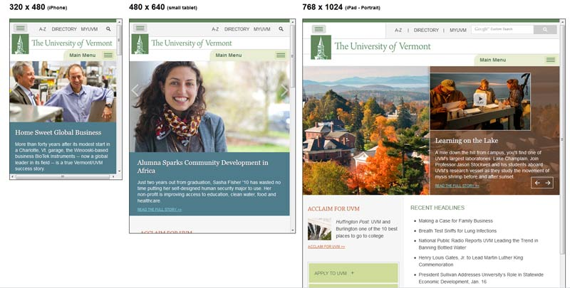 UVM Responsive Website