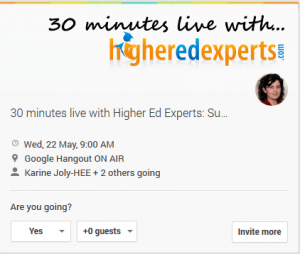 May 22 - 30 minutes live with Higher Ed Experts