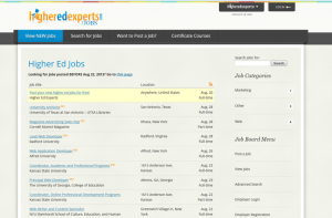 higheredexperts.com/jobs screenshot