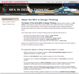 SEO for higher ed: About the MFA in Design Thinking Graduate Program - Radford University