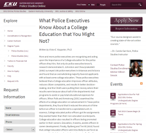 What Police Executives Know About a College Education that You Might Not- - Police Studies Online - Eastern Kentucky University