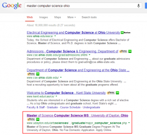 Search Engine Optimization for Higher Ed: master computer science ohio - Google SERP (Sep 5, 2013)
