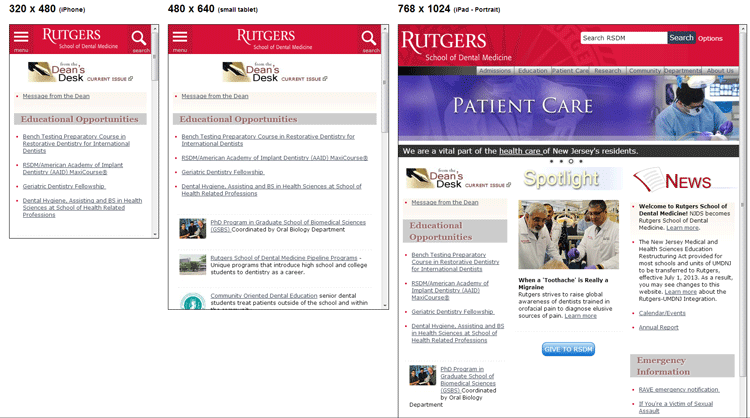 Rutgers School of Dental Medicine Responsive Website