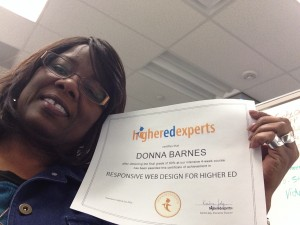 Donna Barnes with her Higher Ed Experts certificate in Responsive Web Design