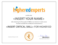 Higher Ed Experts Professional Certificate