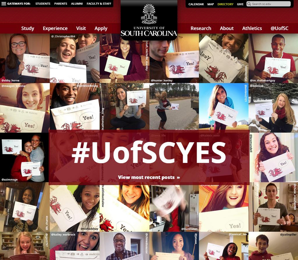UofSCYes homepage