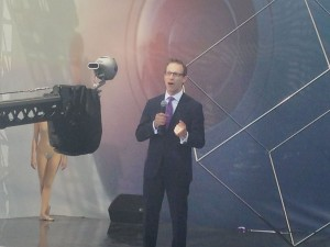 An announcer speaks in front of a 360-degree camera at NAB 2016 in Las Vegas