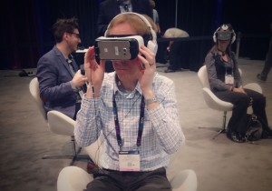 A user experiences virtual reality content on a Samsung GearVR headset