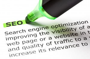 SEO (search engine optimization) highlighted in green with the definition used for the higher ed SEO training course