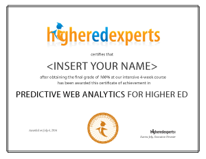 Predictive Web Analytics for Higher Education