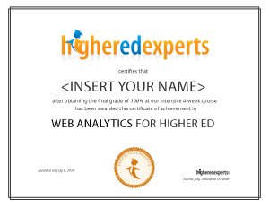 Google Analytics & Web Analytics for Higher Education