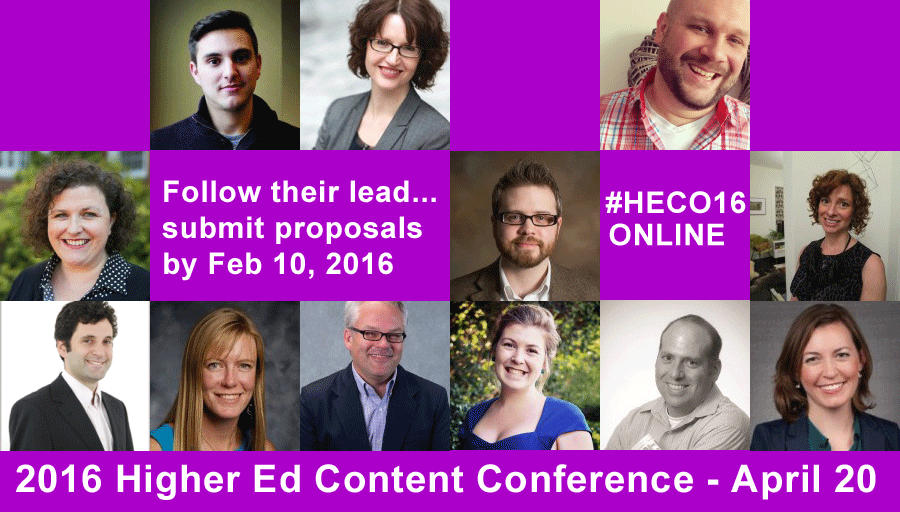 Submit a proposal to the 2016 Higher Ed Content Conference