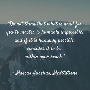 """Do not think that what is hard for you to master is humanly impossible; and if it is humanly possible, consider it to be within your reach."" ? Marcus Aurelius, Meditations"