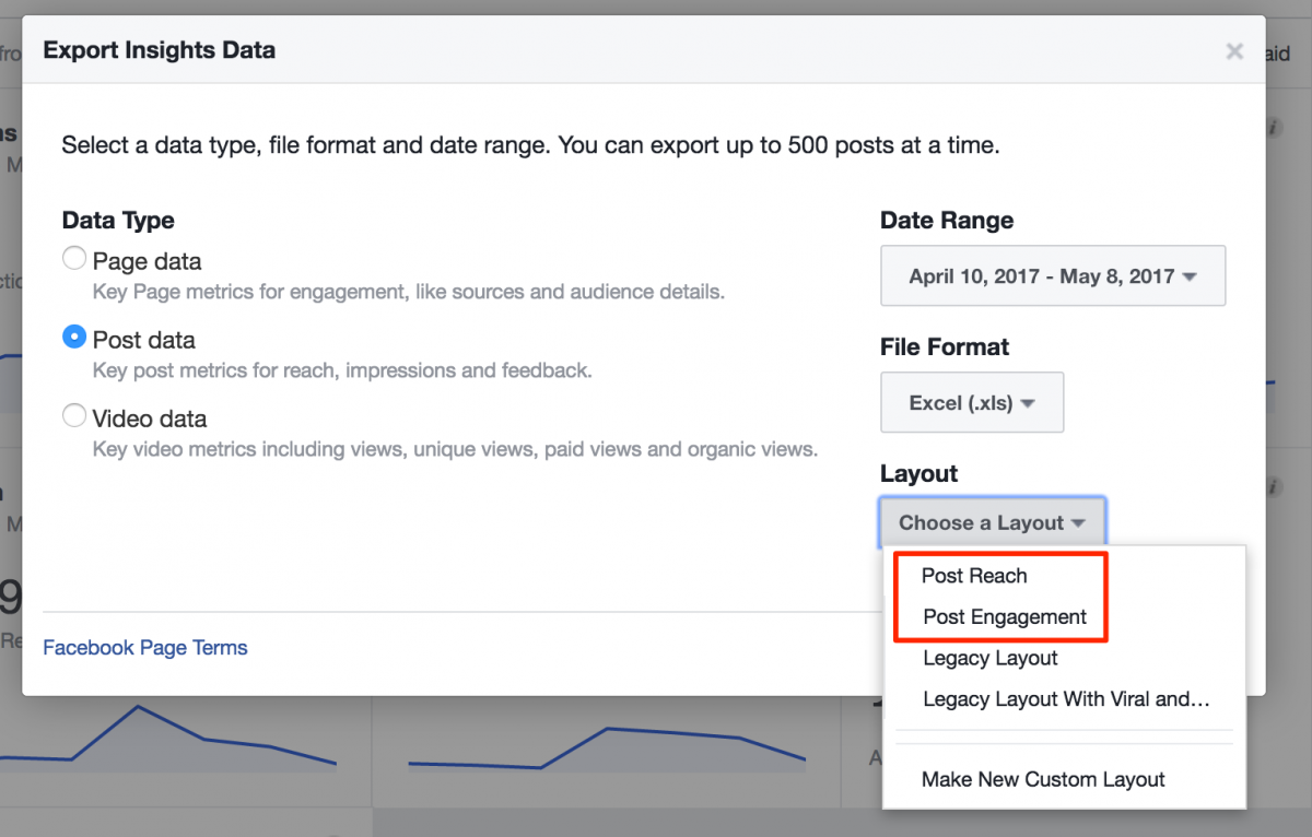 Layouts in Facebook Insights Export