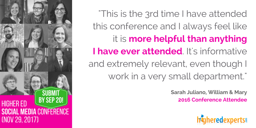 Higher Ed Marketing Conference testimonial from attendee