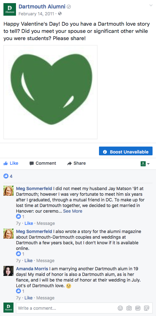 Dartmouth Love Story first facebook psot