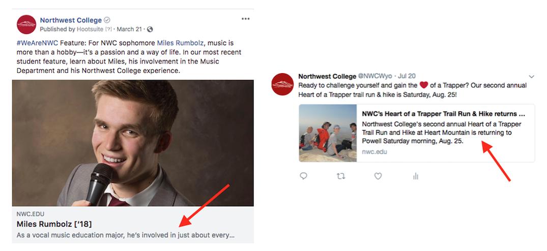 Northwest College social media posts