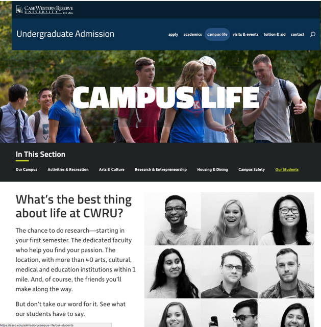 CASE Website with Student Ambassador GIF