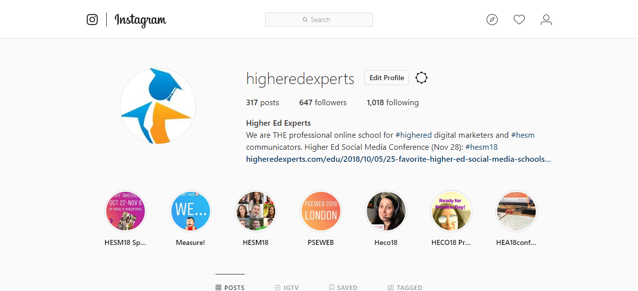 Instagram Account Higher Ed Experts